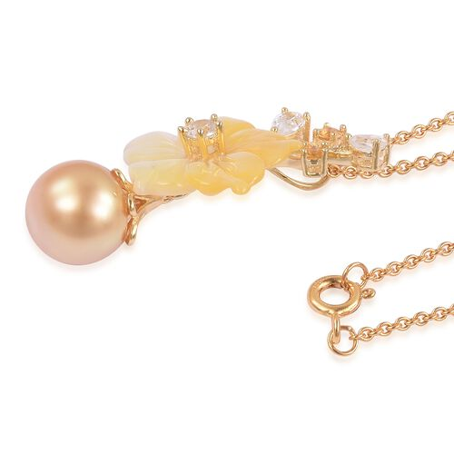 JARDIN COLLECTION - Goldent South Sea Pearl, Yellow Mother of Pearl, Natural White Cambodian Zircon and Multi Gemstone Pendant with Chain (Size 18) in Gold Overlay Sterling Silver