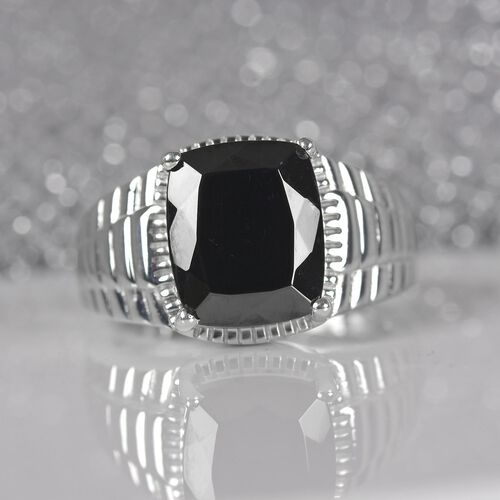 Elite Shungite Solitaire Ring in Platinum Overlay Sterling Silver 3.50 Ct, Silver wt 6.76 Gms