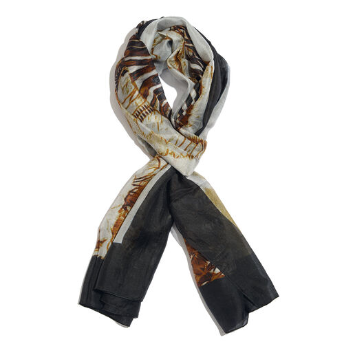 100% Mulberry Silk Black, White and Rusty Orange Colour Zebra Printed Scarf (180x100 Cm)