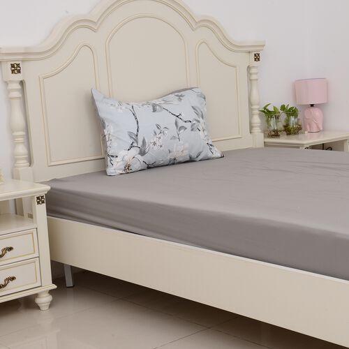 3 Pcs Single Set Blue Colour Fitted Sheet, Duvet Cover and 1 Pillow Case