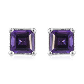 Amethyst (Sqr) Stud Earrings (with Push Back) in Platinum Overlay Sterling Silver 1.250 Ct.