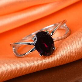 Rhodolite Garnet Solitaire Ring in Platinum Overlay Sterling Silver  1.75 Ct.