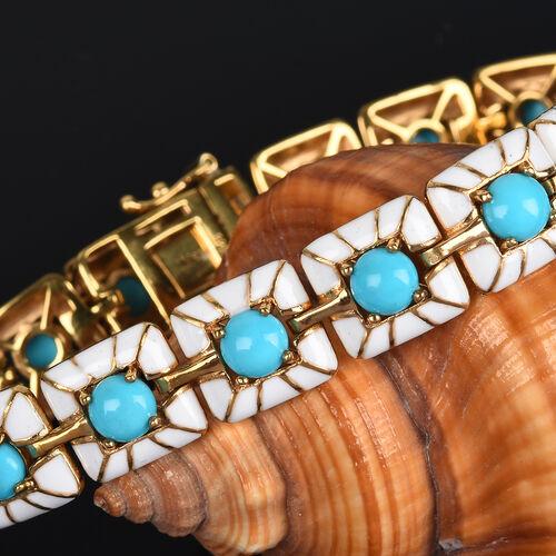 Arizona Sleeping Beauty Turquoise Enamelled Bracelet (Size 7) in 14K Gold Overlay Sterling Silver 8.00 Ct, Silver wt 21.17 Gms