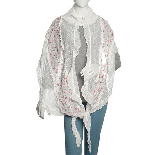 50% Cotton White, Pink and Multi Colour Floral Pattern Scarf with Hand Made Ruffle Border (Size 200X40 Cm)