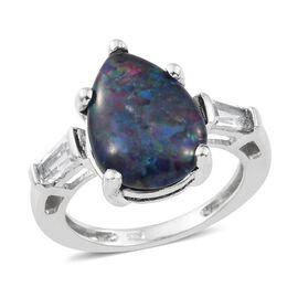Australian Boulder Opal (Pear 3.00 Ct), White Topaz Ring in Platinum Overlay Sterling Silver 3.500 Ct.