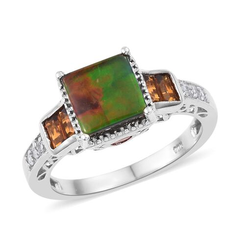 AA Canadian Ammolite (Sqr 8mm), Madeira Citrine and Natural Cambodian Zircon Ring in Platinum Overla