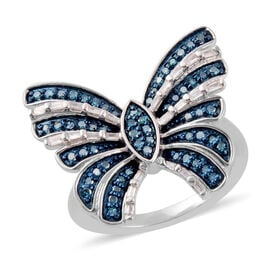0.50 Ct Blue and White Diamond Butterfly Ring in Platinum Plated Silver