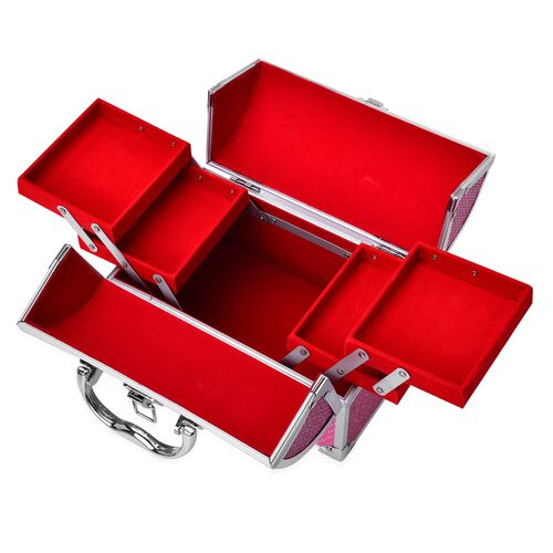 Rose Red Colour Three Layer Multi Functional Jewellery, Sewing, Watch, Makeup, Jewellery Box with 4 Extendable Trays and Red Velvet Lining Inside (Size 24X17X15 Cm)