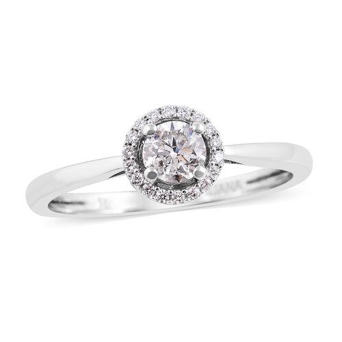 ILIANA 0.50 Ct Diamond Halo Ring in 18K White Gold 3 Grams IGI Certified SI GH