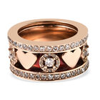 Set of 3 - Simulated Diamond Red Enamelled Band Ring (Size S) in Rose Gold Tone