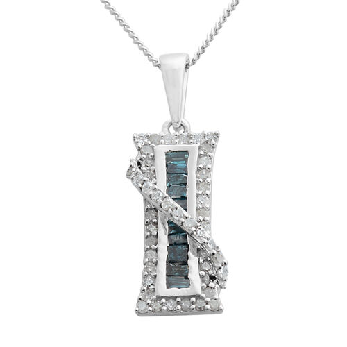 Blue and White Diamond Pendant with Chain in Platinum Overlay Sterling Silver 0.500 Ct.