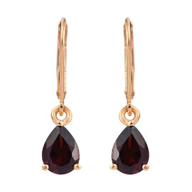 2.50 Carat Mozambique Garnet Drop Earrings in Gold Plated Sterling Silver With Lever Back