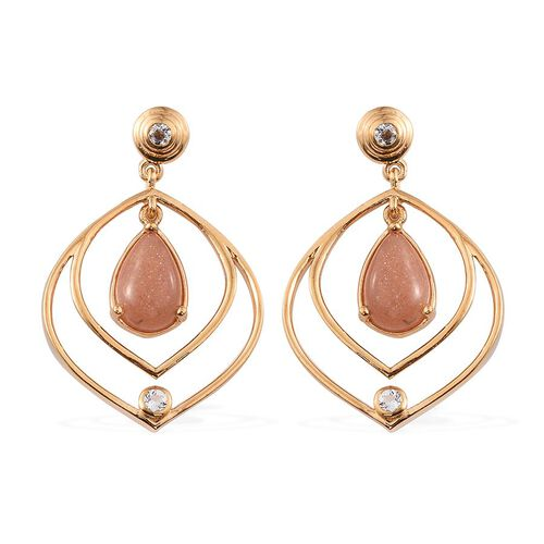 Morogoro Peach Sunstone (Pear), White Topaz Earrings (with Push Back) in 14K Gold Overlay Sterling Silver 6.750 Ct.