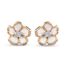 Designer inspired - Diamond (Rnd) Floral Enamelled Earrings (with Push Back) in 14K Gold Overlay Ste