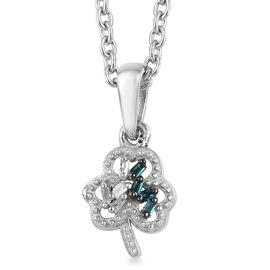 Diamond (Bgt), Blue Diamond Flower Pendant with Chain (Size 20) in Platinum Overlay Sterling Silver
