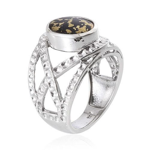 Goldenite (Ovl) Solitaire Ring in Platinum Overlay Sterling Silver 2.000 Ct. Silver wt 5.13 Gms.