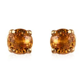 Yellow Sapphire (Rnd) Stud Earrings (with Push Back) in 14K Gold Overlay Sterling Silver 0.750 Ct.