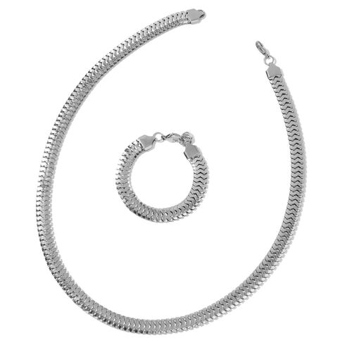 Snake Chain Necklace (Size 24) and Bracelet (Size 7.5 with 1 inch Extender) in Silver Tone with Stainless Steel