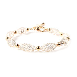 White Austrian Crystal Bracelet (Size 7.5 with 2 inch Extender) in Yellow Gold Tone