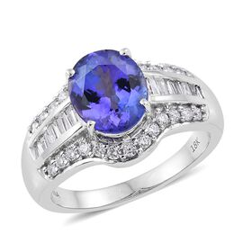 ILIANA 2.45 Ct AAA Tanzanite and Diamond Solitaire Design Ring in 18K White Gold 8.5 Grams SI GH