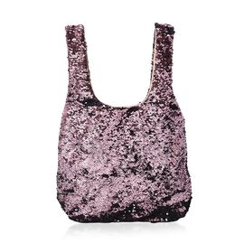 Pink and Black Sequin Shopping Bag with Magnetic Closure (Size 40x33.5 Cm)