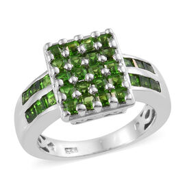 1.75 Ct Russian Diopside Cluster Ring in Platinum Plated Sterling Silver