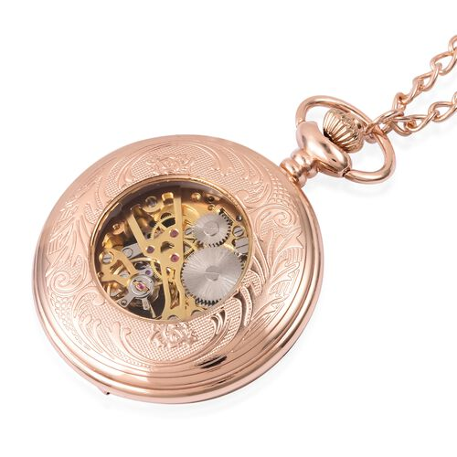GENOA Automatic Skeleton Water Resistant Pocket Watch with Chain in Rose Gold Tone