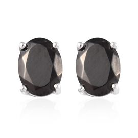 1.50 Ct Elite Shungite Stud Solitaire Earrings in Platinum Plated Sterling Silver