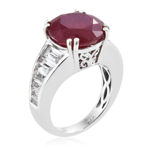 Designer Inspired- African Ruby (Rare Size Rnd 12 mm 9.15 Ctst), White Topaz Ring in Platinum Overlay Sterling Silver 11.500 Ct