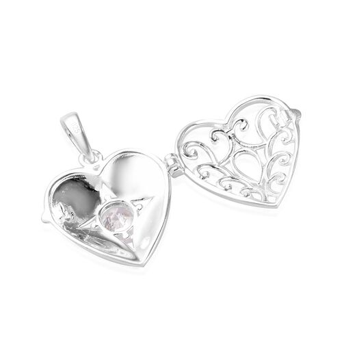 J Francis - Sterling Silver Heart Locket Pendant made with SWAROVSKI ZIRCONIA