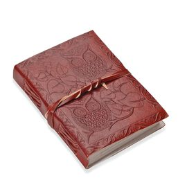 Owl Embossed Leather Notebook with Strap (Size 17.78x12.7 Cm) - Maroon