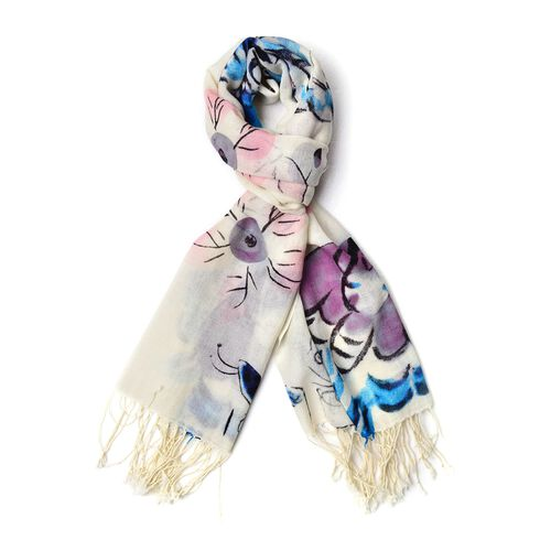 100% Wool Blue, White and Multi Colour Butterfly and Floral Pattern Scarf with Tassels (Size 184X68 Cm)