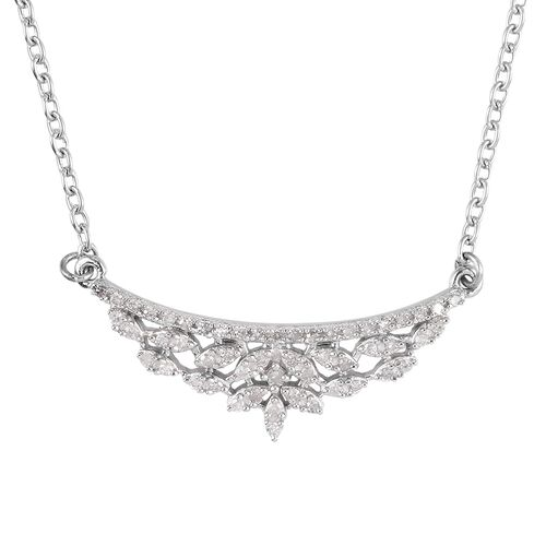 Diamond Necklace (Size 18) in Platinum Overlay Sterling Silver