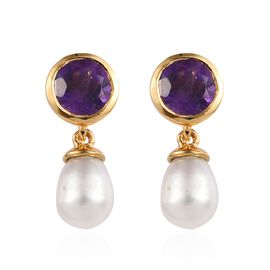 Fresh Water Pearl (4.35 Ct),African Amethyst 14K Gold Overlay Sterling Silver Earring  5.750  Ct.