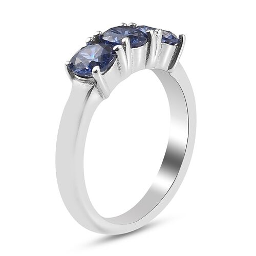 Personalise Engravable Cubic Zirconia 3 Stone Birthstone Ring in Silver
