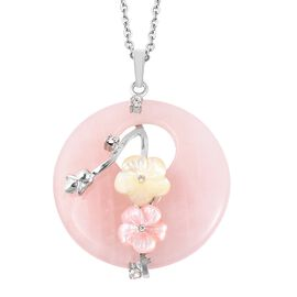 Rose Quartz (Rnd), White Austrian Crystal, Flower Carved Pink and Yellow Shell Pendant with Chain (S