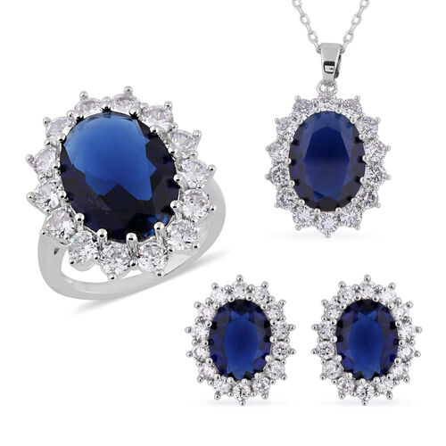 3 Piece Set - Simulated Diamond and Simulated Blue Sapphire Ring, Earrings (with Push Back) and Pend