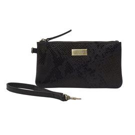 ASSOTS LONDON Karen Bourbon Genuine Leather Wristlet (Size 19x10.5cm) - Black