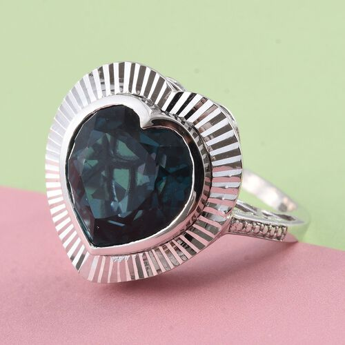 Indicolite Triplet Quartz (Hrt) Solitaire Ring in Sterling Silver 10.150 Ct. Silver wt 6.00 Gms.