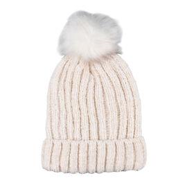 Chenille Cable Ladies Bobble Knit Hat - Cream