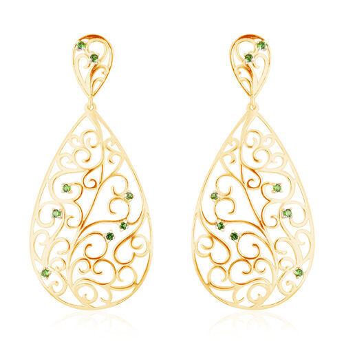 LucyQ Victorian Era Collection - Russian Diopside Drop Earrings (with Push Back) in Yellow Gold Over