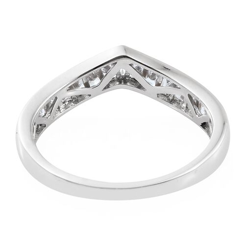 J Francis - Platinum Overlay Sterling Silver (Bgt) Wishbone Ring Made with SWAROVSKI ZIRCONIA