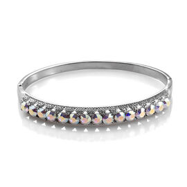 J Francis - Crystal from Swarovski AB Crystal (Rnd) Bangle (Size 7.5) in Stainless Steel