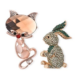 2 Piece Set - Simulated Multi Colour Gemstone and Multi Colour Austrian Crystal Mouse and Bunny Broo