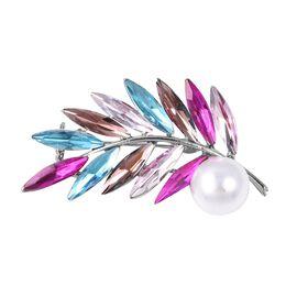 Multi Colour Simulated Gemstone and Simulated Pearl Leaf Brooch