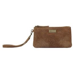 ASSOTS LONDON Karen Suede Sparkle Leather Purse (Size 19x10.5cm) - Tan & Yellow Gold