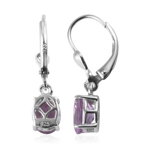 Rose De France Amethyst Lever Back Drop Earrings in Platinum Overlay Sterling Silver 2.250  Ct.