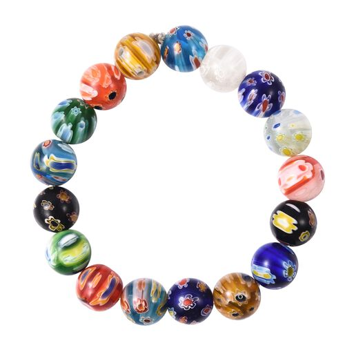 Millefiori Collection- Multi Colour Murano Style Glass Stretchable Beads Bracelet (Size 7)