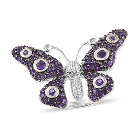 Lusaka Amethyst (Rnd), Natural White Cambodian Zircon Butterfly Ring in Platinum and Black Overlay Sterling Silver 2.000 Ct, Silver wt 7.43 Gms, Number of Gemstones 109.