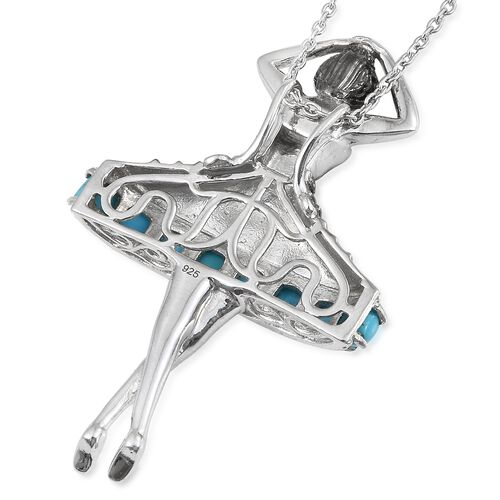Arizona Sleeping Beauty Turquoise (Cush) Ballerina Pendant with Chain (Size 18) in Platinum Overlay Sterling Silver 2.750 Ct. Silver wt 12.69 Gms.